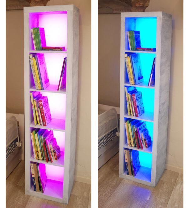 Iluminación en mobiliario Estanteria Expedit IKEA