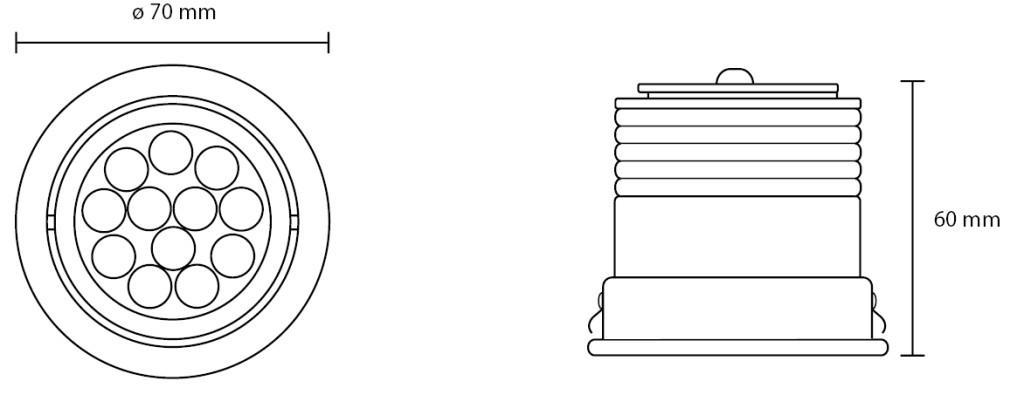 Medidas del spot LED RGB LUXO 3