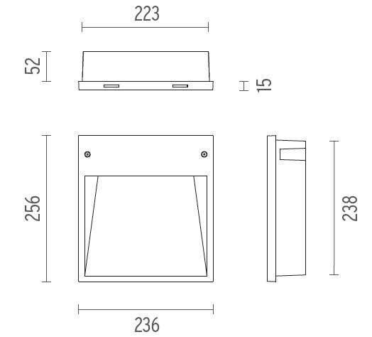 Medidas Luminaria Empotrada asimetrica BOX