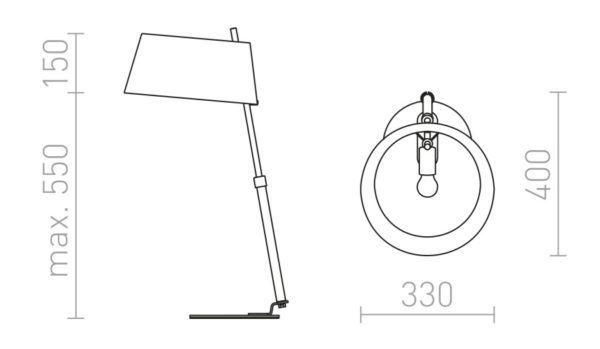 Medidas Lámpara de mesa con pantalla