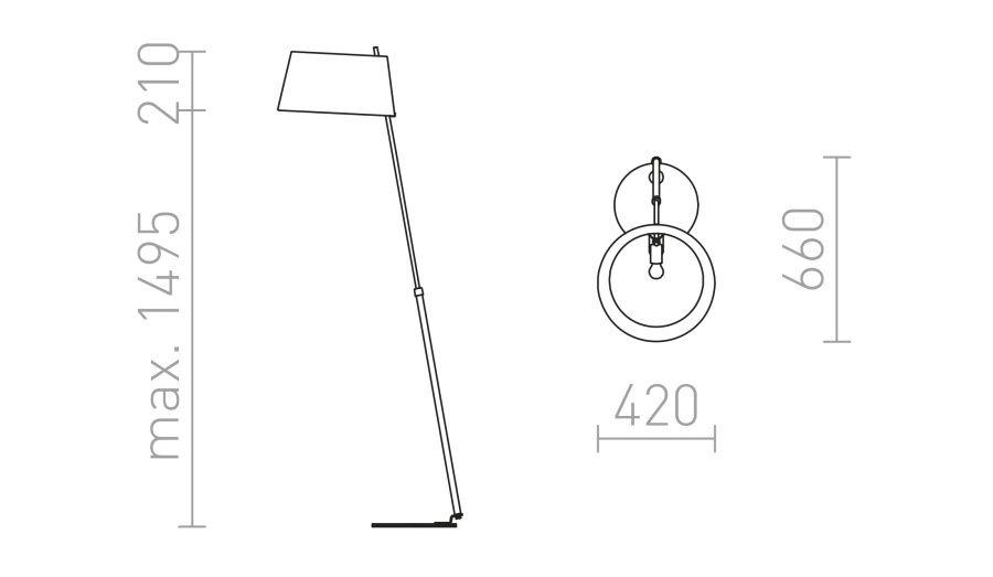 Medidas Lámpara de pie con pantalla textil Ritzy