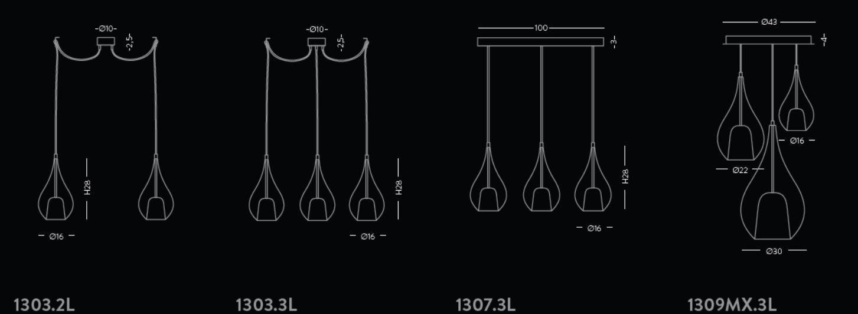 Medidas conjuntos lámparas de suspensión de cristal ZOE